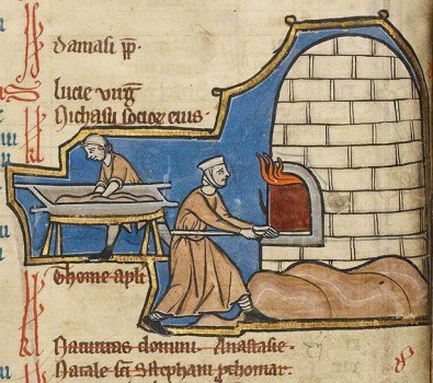 A female baker from a 13th century manuscript