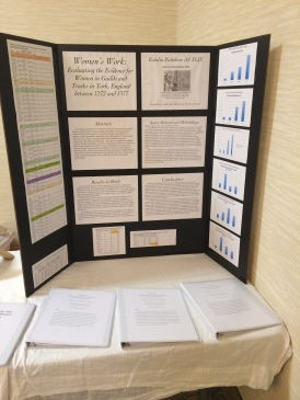 My display for my research paper on women in York guilds