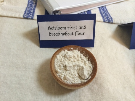 Close-up of one of the historical flours I used