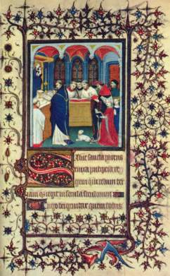 A page from a French book of hours from around 1400.